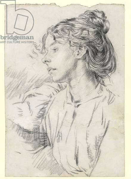 Portrait of Ursula Tyrwhitt, c.1897 (black chalk on paper)