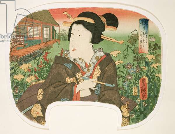 Autumn, Hanayashiki: A geisha with a pipe, design for a fan from a set of four illustrating the seasons, 1858-60 (woodblock print)
