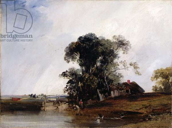 Landscape with a Pond, c.1825-26 (oil on canvas)