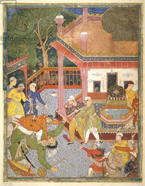 A hero slays a giant before a crowd of onlookers in a courtyard, illustration from the Hamza Nama, c.1555-67 (bodycolour on cotton)