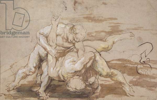 Two Men Wrestling (charcoal, pen & ink with wash on paper)