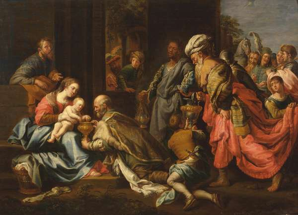 Adoration of the Kings, after van Loon (oil on panel)
