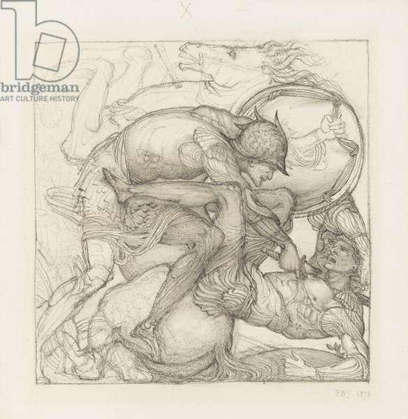 Aeneas slaying Mezentius, 1873 (pencil on paper)