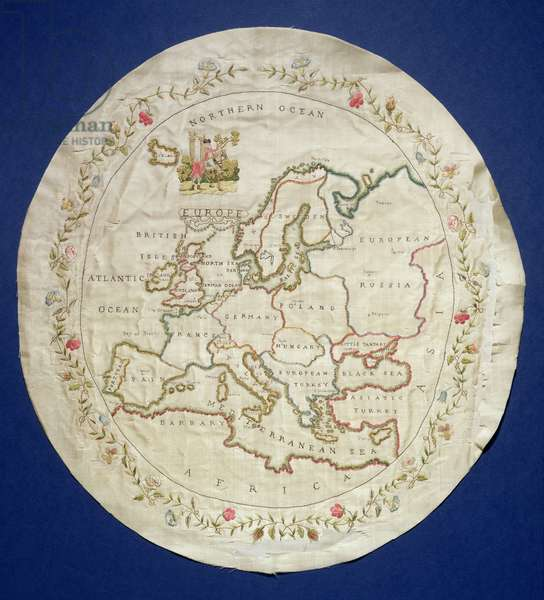 T.142-1938 Sampler showing a map of Europe, English, late 18th century (coloured silk threads on silk)
