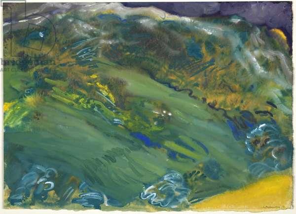 Anticoli landscape, 1979 (gouache on paper)
