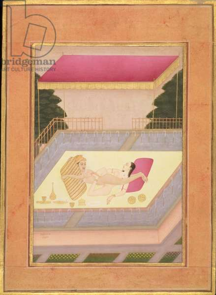 The private pleasure of Kunwar Meghraj Ji by Lachhmi Narain, Bikaner, Rajasthan, Rajput School, c.1678-98, (gouache on paper)
