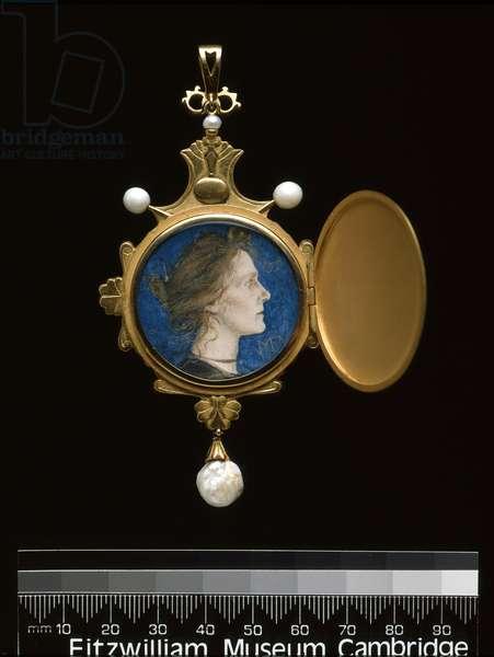 Pendant: Miss Edith Emma Cooper (1862-1913) 1901 (gold, enamel, pearl & w/c)