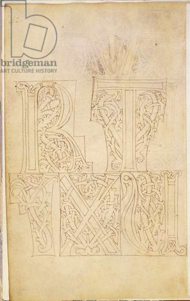 MS 83-1972 f.1v Outline designs for capital letters showing 'R','T','U','X' and 'Y' from a Model Book of Initials, Italian, c.1200 (vellum)
