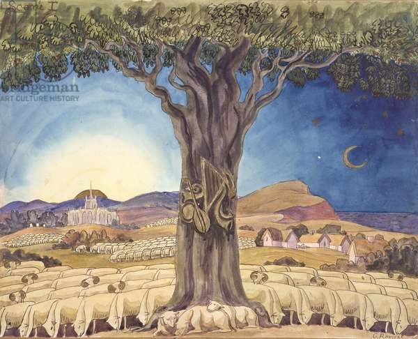 "PD.2-1973 Design for a backdrop for Scene 1 of Vaughan Williams' ballet ""Job"", produced in 1931, based on William Blake's ""Book of Job"" (w/c & ink)"