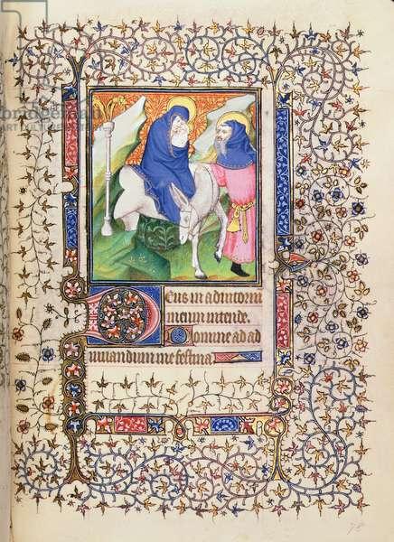 MS.McClean.80.f78r Flight into Egypt, French Horae, 15th century (vellum)