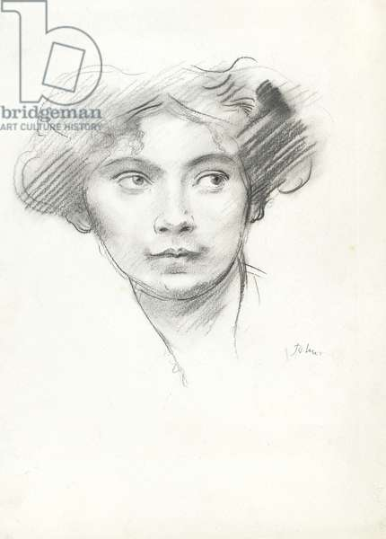 Head of a woman, 1904 or after (charcoal on paper)