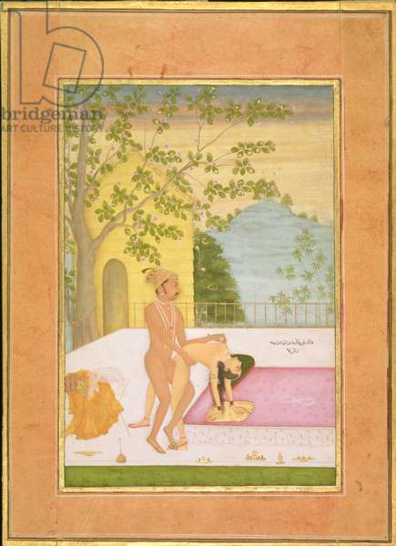 The private pleasure of Danyal, son of Emperor Akbar: the Prince and his consort make love on the palace terrace, their clothes lie on a stool by the bedside by Tara Chand, Bikaner, Rajasthan, Rajput School, c.1678-98 (gouache on paper)