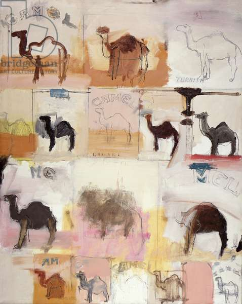Camels, c.1962 (oil with collage on canvas)