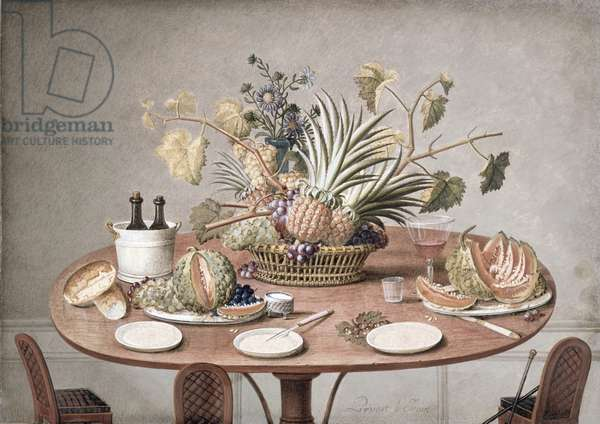 PD.874-1973 Still Life of a Table with Flowers and Fruit, c.1810 (w/c & gouache)