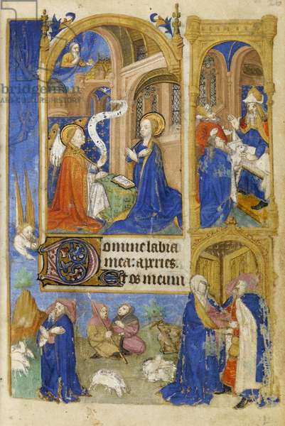 MS 39-1950 f.26r The Annunciation and Annunciation to the Shepherds, 1464 (gold, silver & coloured ink on parchment)