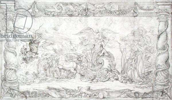 Design for 'The Waterloo Allegory', c.1815-22 (pen and black ink on paper)