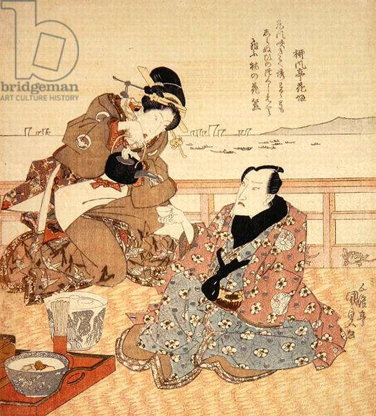 Onoe Kikugoro III taking tea at Shinagawa, c.1825 (coloured woodblock print) (see also 282741)