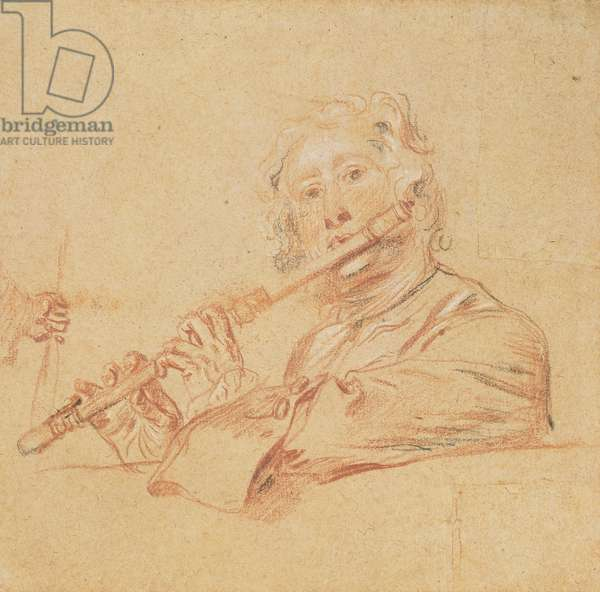 Man Playing a Flute, c.1710 (`aux trois crayons' on buff paper)