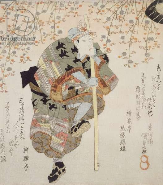 Onoe Kikugoro III as Shimbei in Sukeroku yukari no Edo zakura, c.1830 (coloured woodblock print)