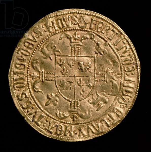Fort d'or of Charles of France , Duke of Aquitaine (1433-1477) reverse showing a coat of arms, Struck at Bordeaux, 1469-1472 (gold) (for obverse see: 110163)
