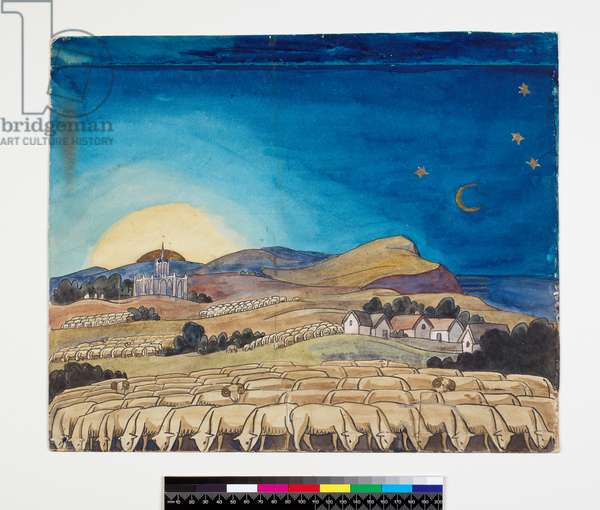 Evening Landscape with Sheep (Backdrop design for 'Job') (w/c & ink over pencil)