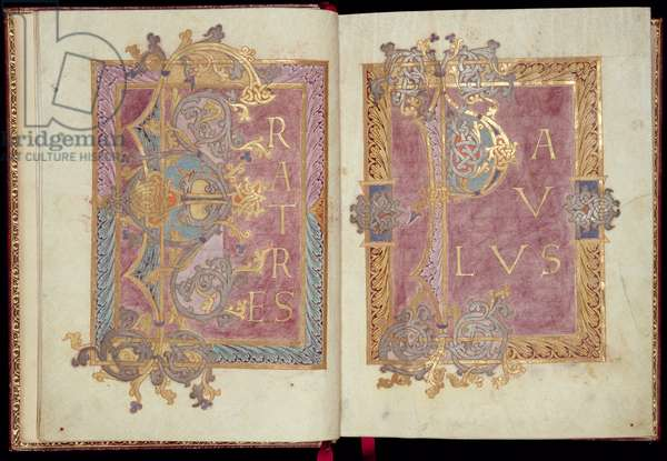 Ms McClean 30, ff.2v-3r: Initial pages framed with Acanthus leaves, from the Reichenau Epistolary, late 10th century (gold ink & tempera on parchment)