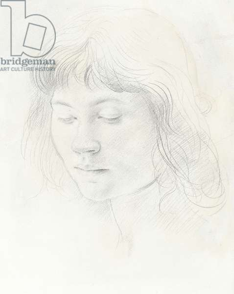 Head of a girl with a fringe (graphite on paper)