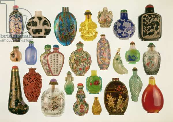 Collection of Chinese snuff bottles, ceramic, glass, lacquer and carved stone, 18th-19th century