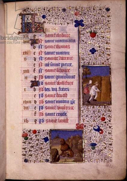Reaping, Leo, Calendar Page for July from a French Horae, c.1480 (vellum)