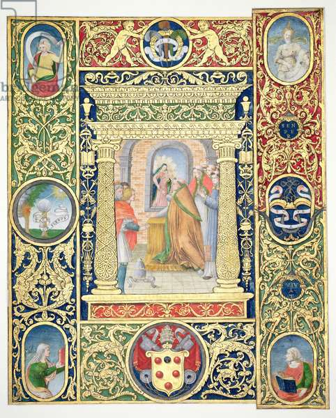 Marlay Cutting IT.35r The Vision of Pope Leo the Great and border fragments from a missal of Pope Clement VII, after 1523 (parchment)