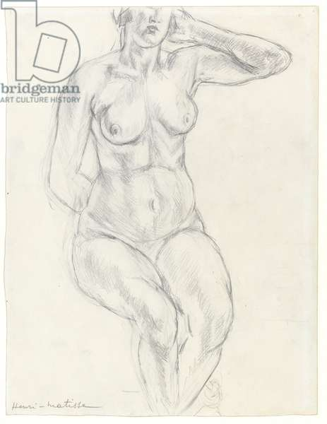 Seated nude, c.1918 (graphite & black chalk on paper)