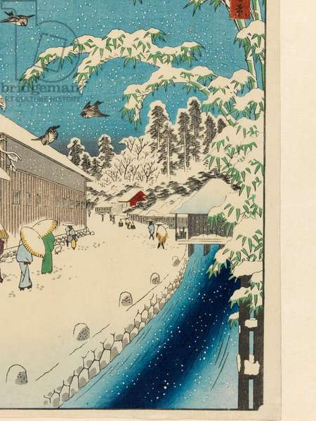 Atagoshita and Yabu Lane (Atagoshita Yabukôji). From the series 'One Hundred Famous Views of Edo' (Meisho Edo hyakkei) for Winter, before 1858 (colour print from woodblocks, with mica flakes and fabric-printing)