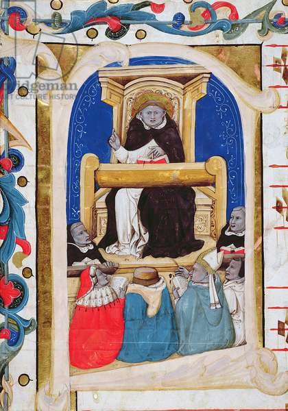 MS 278b, Historiated initial 'F' from an antiphoner showing Saint Thomas Aquinas teaching six men from and open book (vellum)
