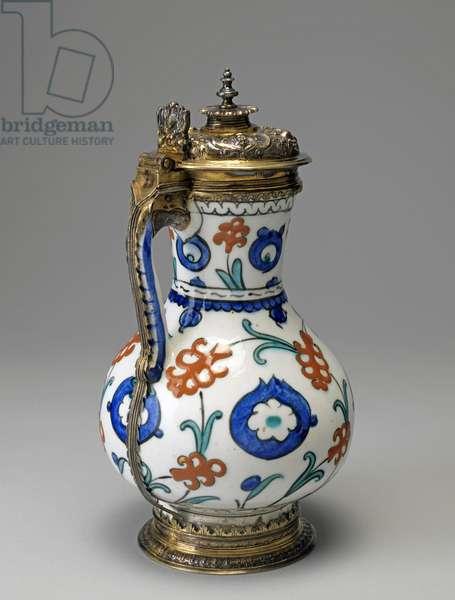 Fritware Jug, Ottoman Period (glazed ceramic with silver gilt)
