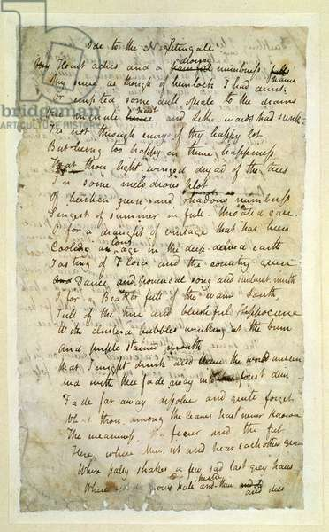 f.lr Ode to a Nightingale, Poem by John Keats (1795-1821) page:1, recto, 1819 (ink on paper)