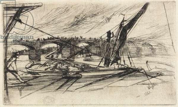 Vauxhall Bridge, 1861 (etching, black carbon ink on Japanese paper)