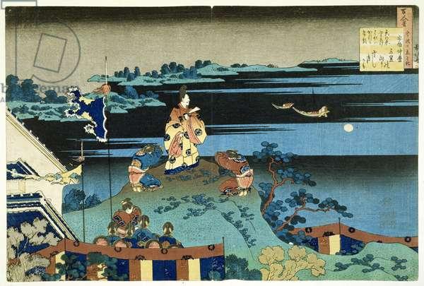 The Exiled Poet Nakamaro ('Abe no Nakamaro'), from the series '100 Poems Explained by the Nurse' ('Hyakunin isshu uba ga etoki') pub. c.1838, (hand-coloured woodblock print)