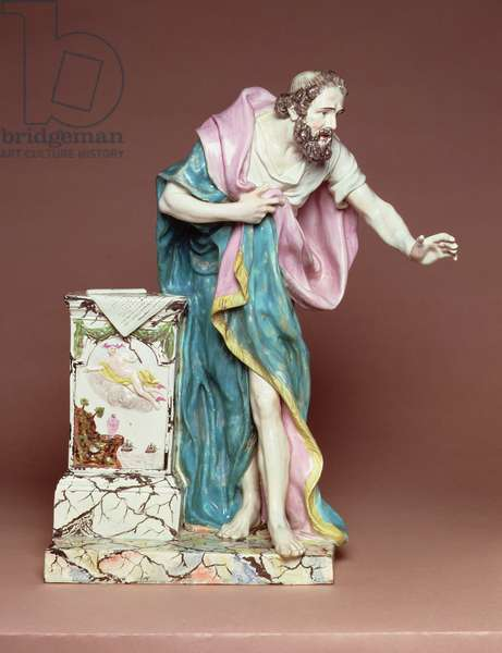 Figurine of Demosthenes, Burslem, Staffordshire, c.1790 (lead glazed earthenware)