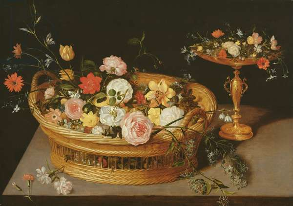 A Basket of Flowers with a Silver Gilt Tazza (oil on panel)