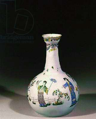 Liverpool water-bottle with enamelled chinoiserie decoration, c.1750 (earthenware)