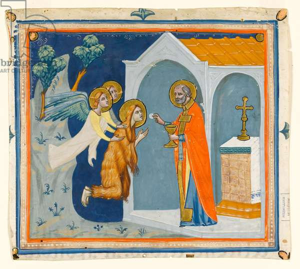 MS McClean folio 201.4 r St. Mary Magdalene, in the wilderness around Aix, being carried by angels to St. Maximin, who administers her last communion, c.1330 (vellum)