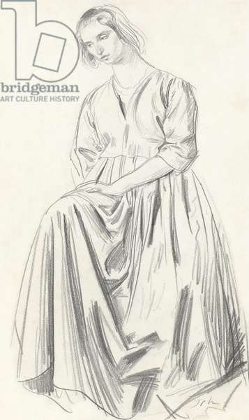 A seated lady, A study of Dorelia John, c.1909 (graphite on paper)