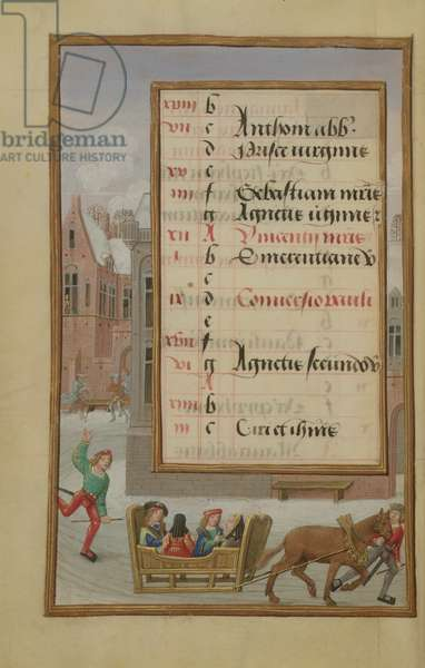 Ms 1058-1975 f1v Street Scene in the Snow, illuminated calendar page for January, from a Book of Hours, c.1500 (vellum)