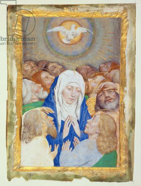 Ms 304 Miniature of the Pentecost, in the Style of Simon Marmion (c.1420-89), vellum, c.1485 (w/c and bodycolour)