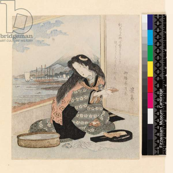 P.246-1937 Woman at her toilet by Ikeda Eisen (1790-1848), (colour woodblock print)