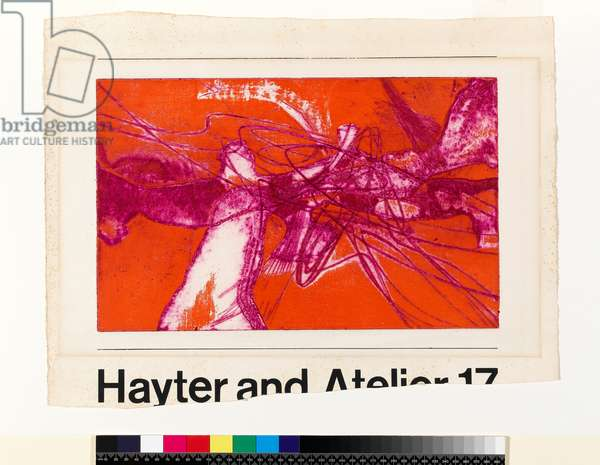 Untitled poster for Atelier 17 exhibition at the ICA in 1962, 1962 (printed in violet and orange, engraving, etching & aquatint)