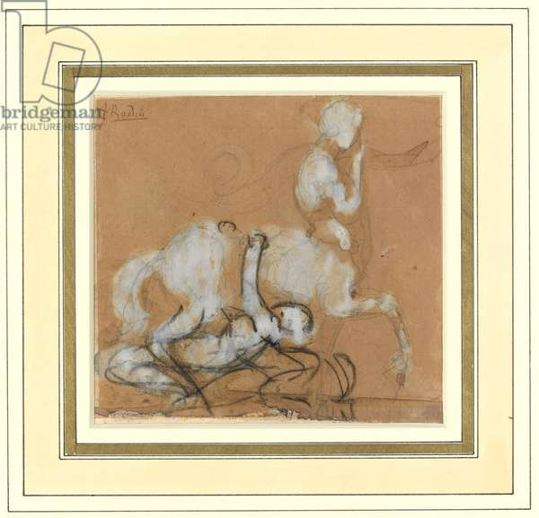 Achilles and Cheiron (graphite, chalk & brown wash with white heightening on paper)