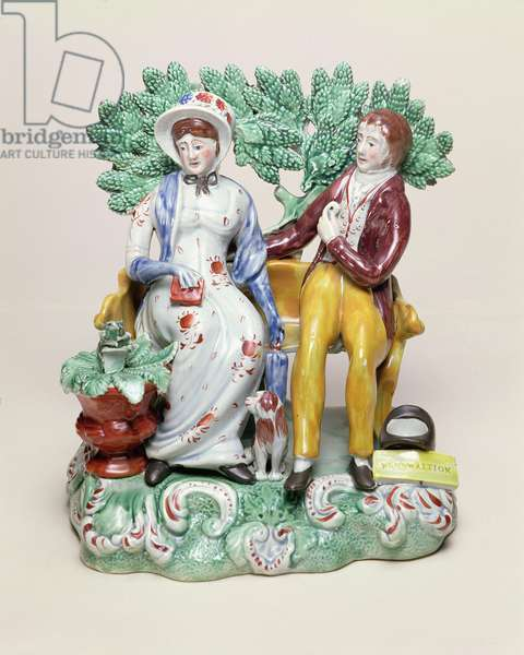 'Perswaition' figure of a courting couple, c.1815-28 (pearlware decorated overglaze with enamels)