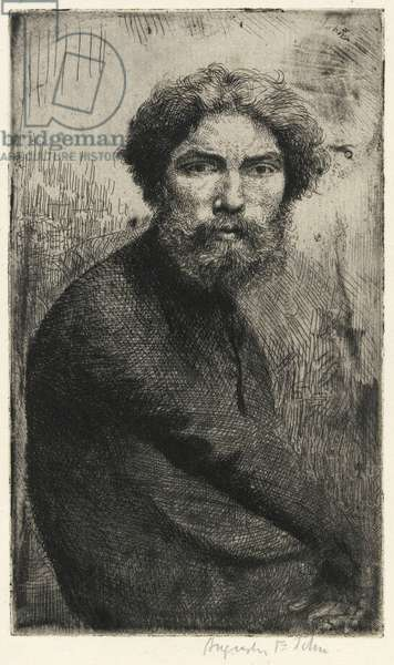 Portrait of the artist: in a black gown, c.1904 (etching)