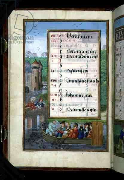 Ms 1058-1975 f5v A Boating Party on a River, illuminated calendar page for May, from a Book of Hours, c.1500 (vellum)